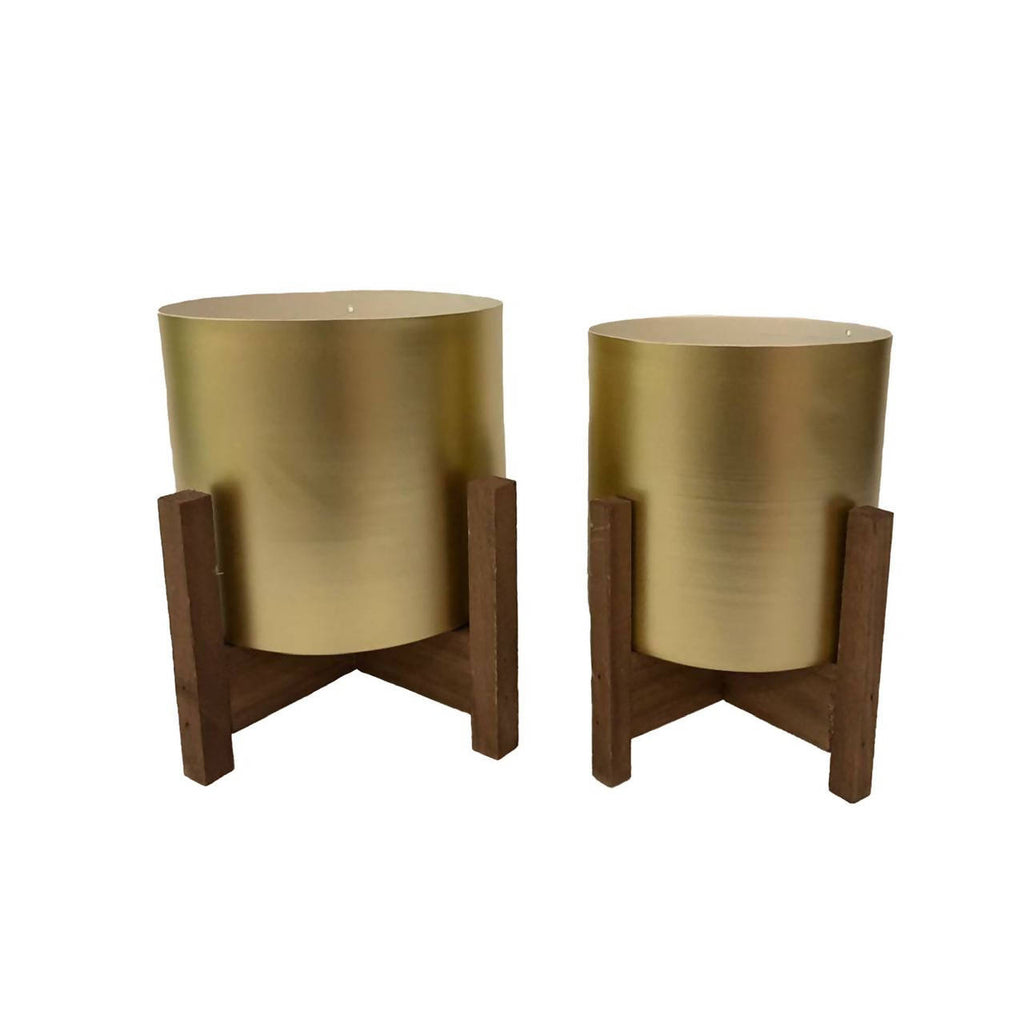 Gold Metal Pot with Wooden Stand