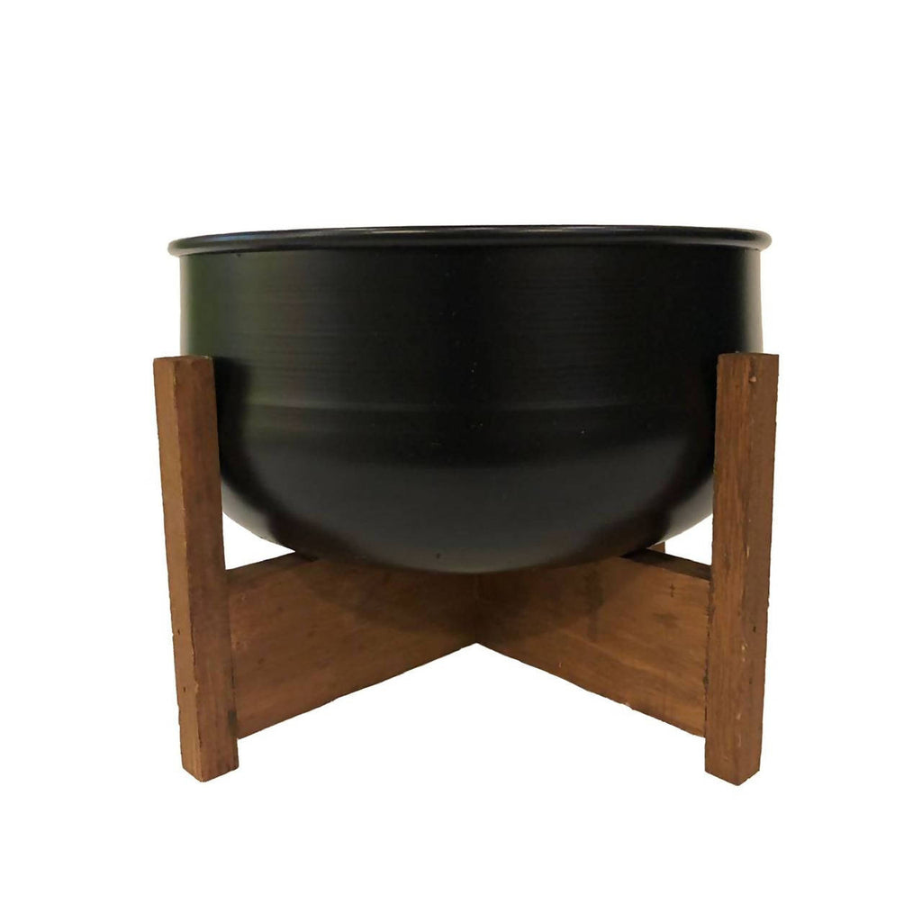 Black Curved Base Metal Pot with Wooden Stand