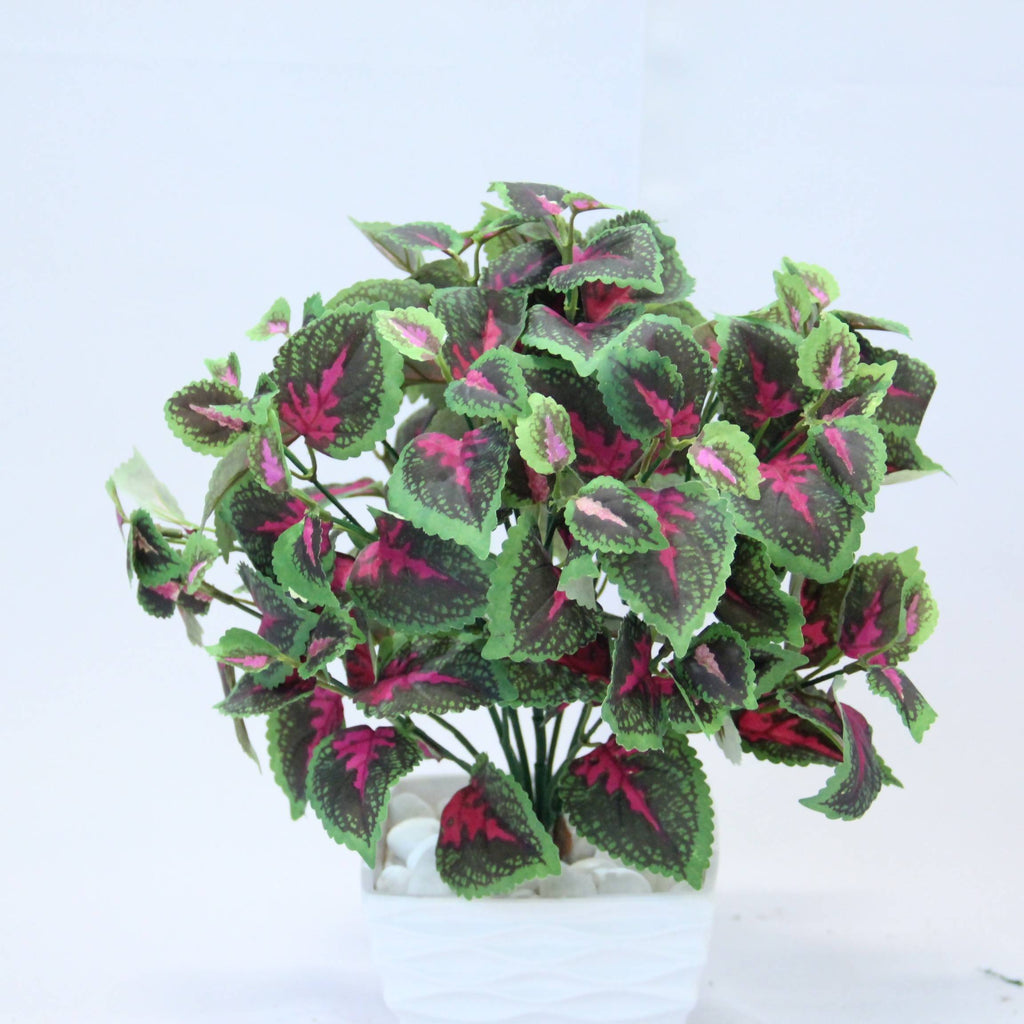 Artificial Medium Coleus Bush with Black Pot (0.4m)