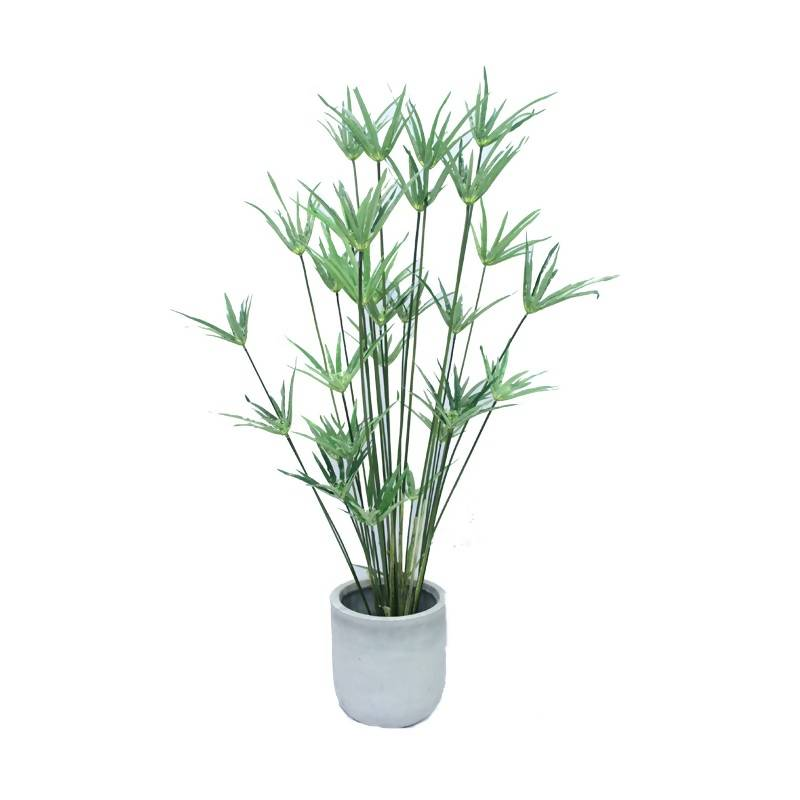 Artificial Potted Cypherus Plant with Grey Pot (1.4m)