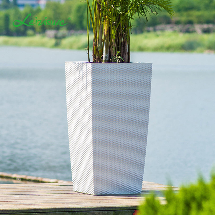 Square Cylinder Rattan Series 39cm in white