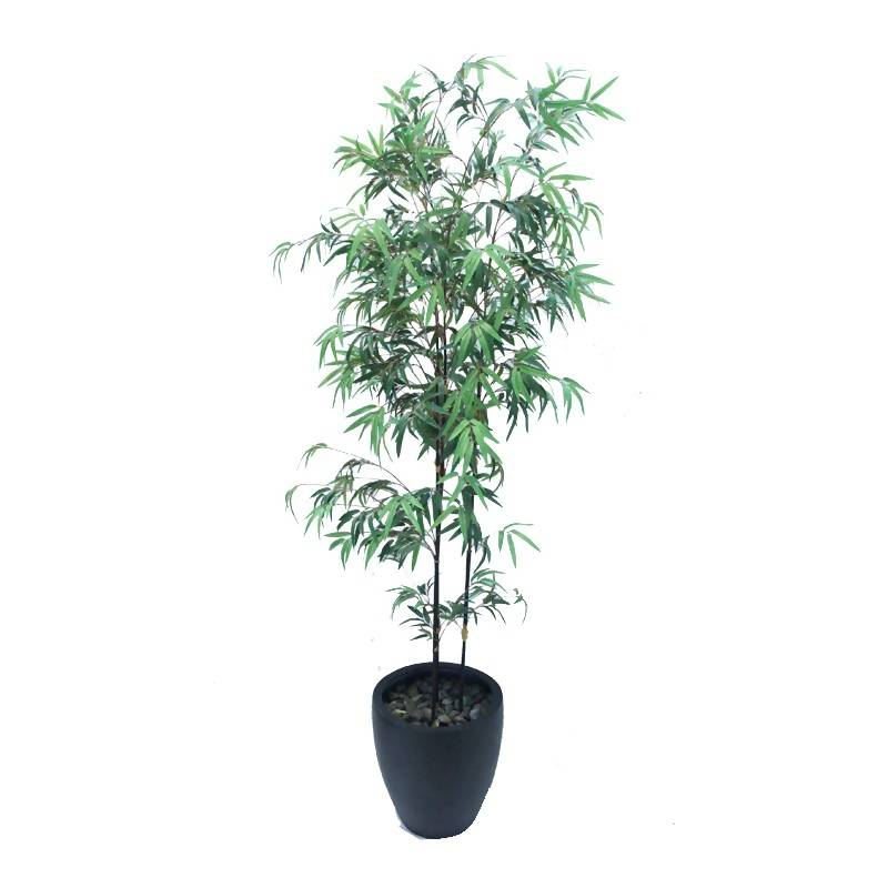 Artificial Thin Japanese Black Bamboo with Black Pot (1.8m)