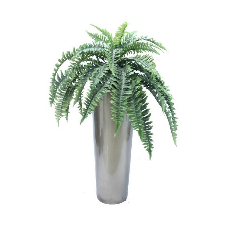 Artificial Boston Fern Bush with Bronze Pot (0.75m)