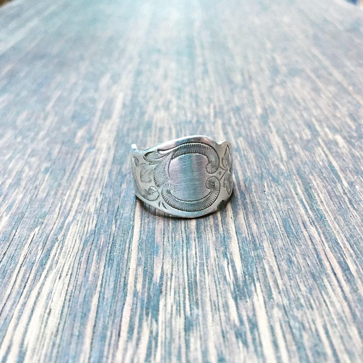 Spoon Ring handcrafted from antique engraved spoon