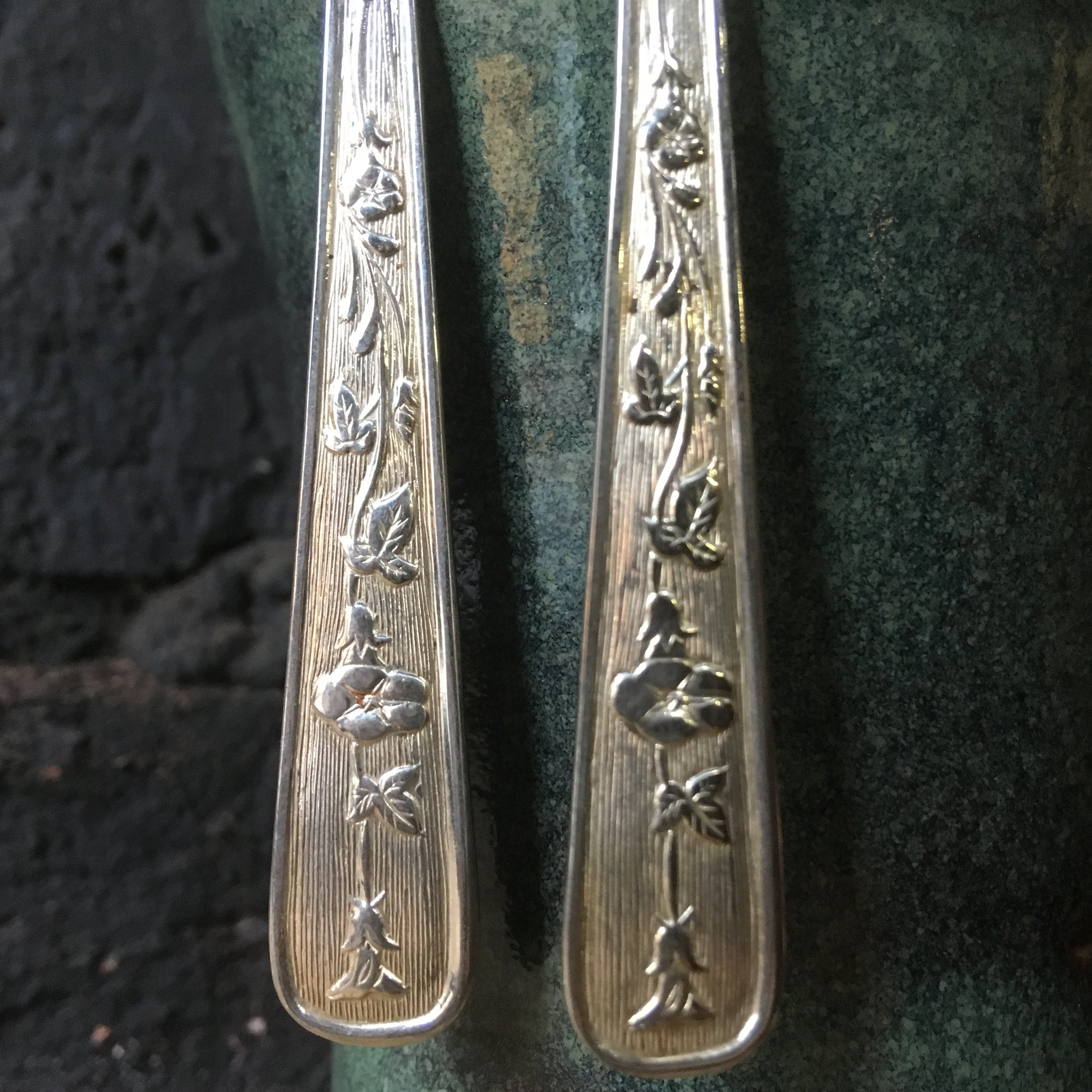 Earrings handcrafted from vintage spoons