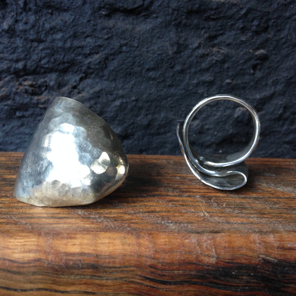 origami spoon ring textured