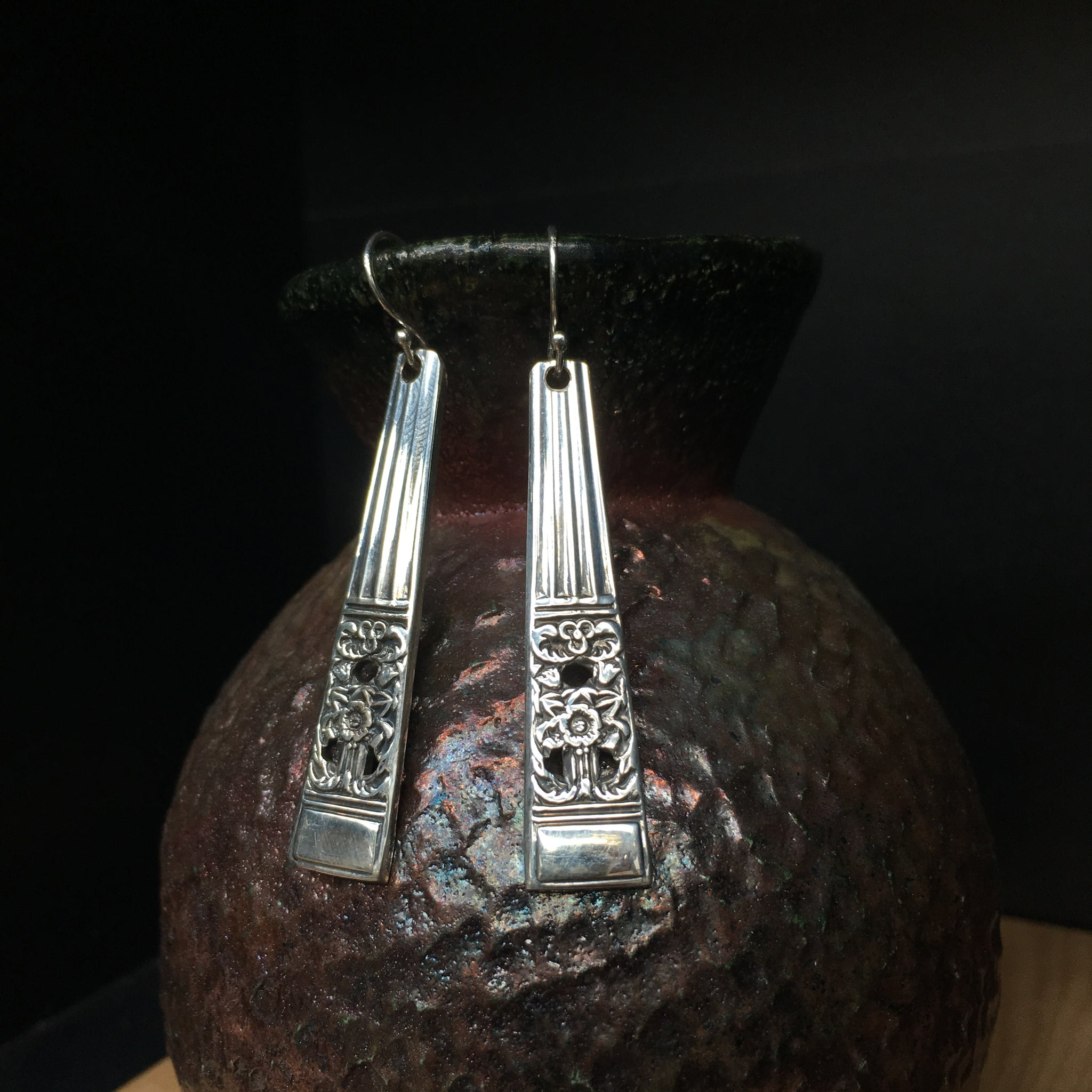 Earrings crafted from vintage spoons