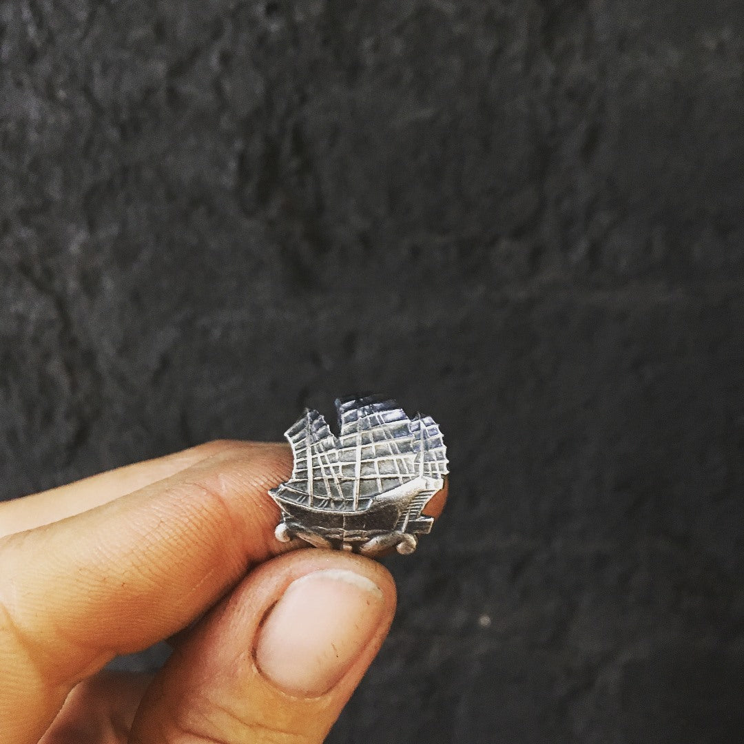 Black sails ship ring - sterling silver