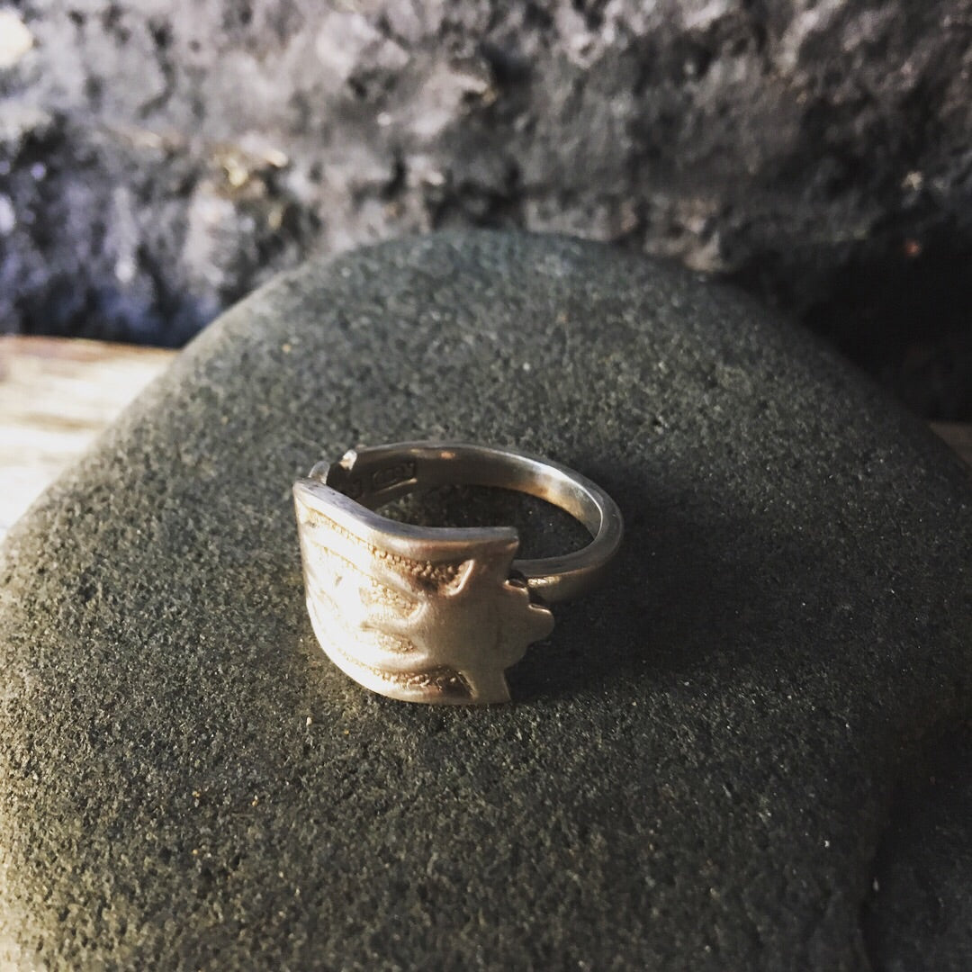 Spoon ring handcrafted 'Eye of Horus'