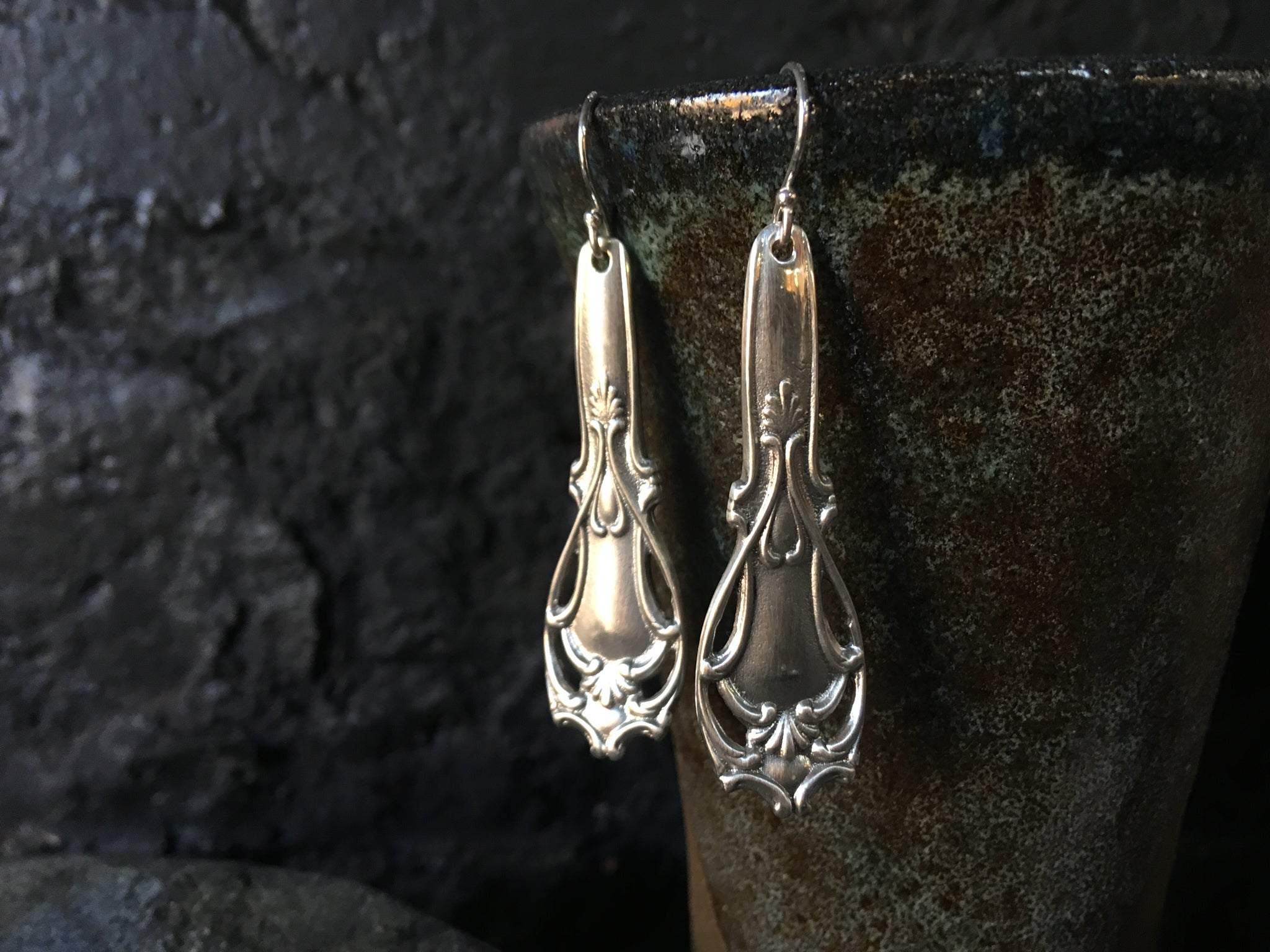 Sterling silver antique spoon earrings - divine gothic