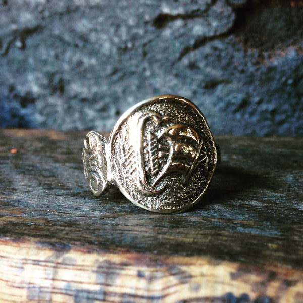 Viking ship spoon ring - brass