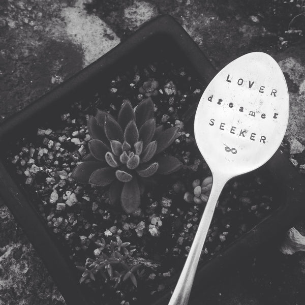 Lover Dreamer Seeker letter stamped vintage spoon