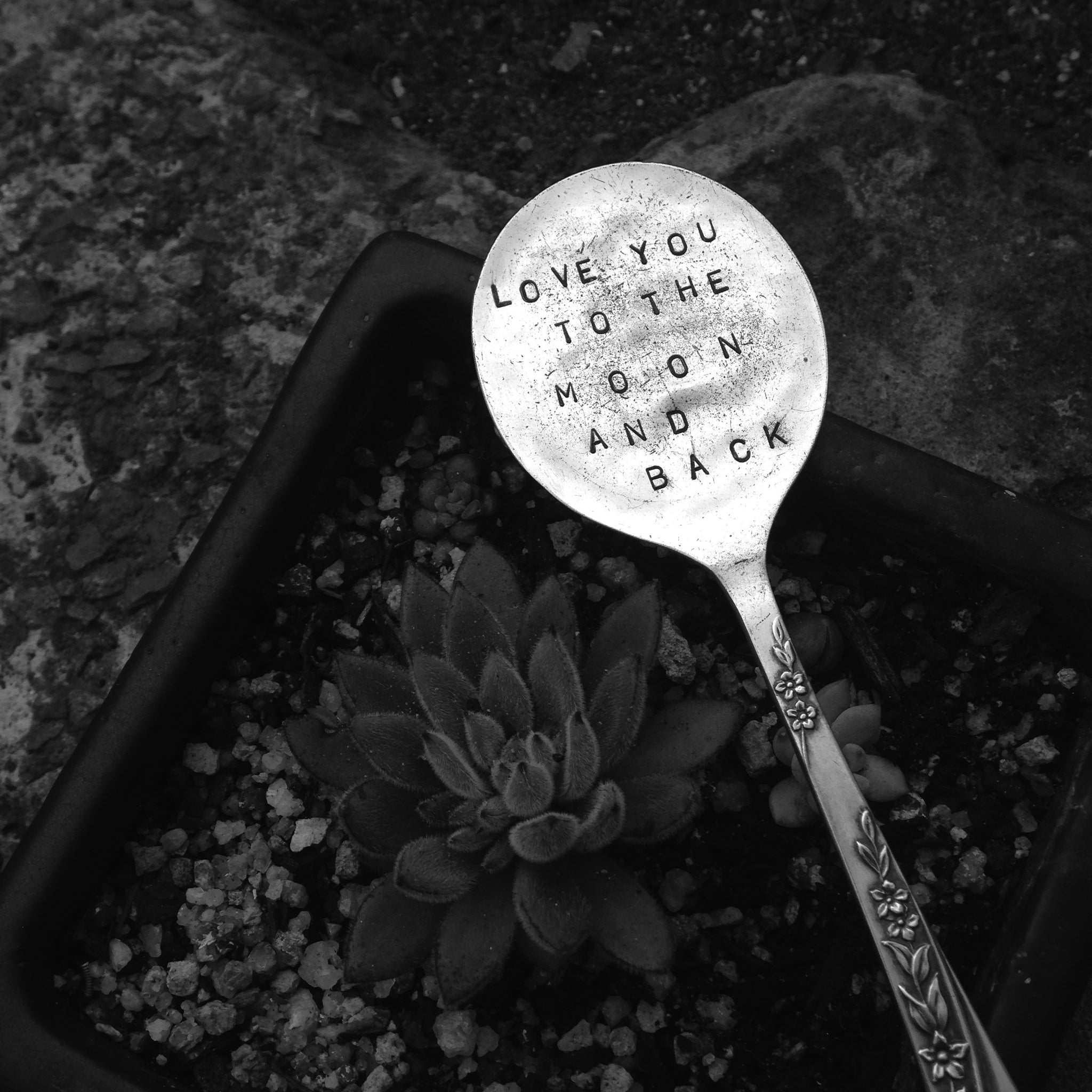 love you to the moon and back - letter-stamped vintage spoon