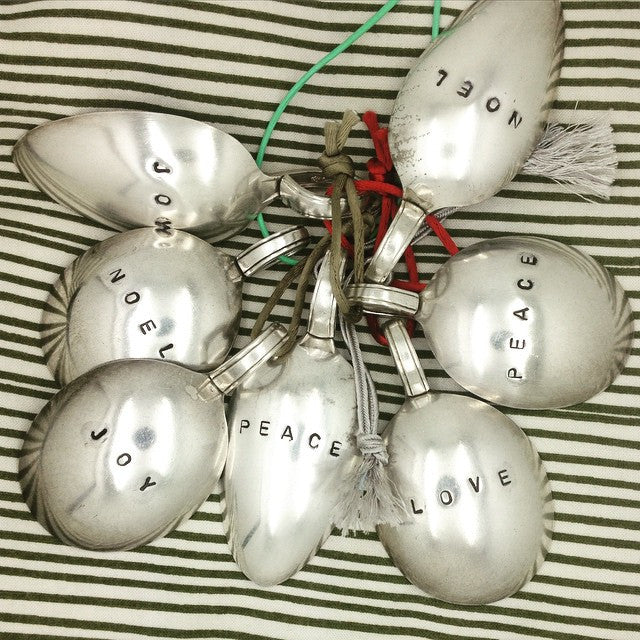 Christmas baubles - crafted from vintage silver spoons