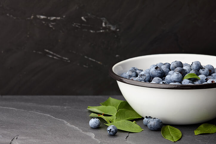 Slate kitchen worktop with bowl of blueberries