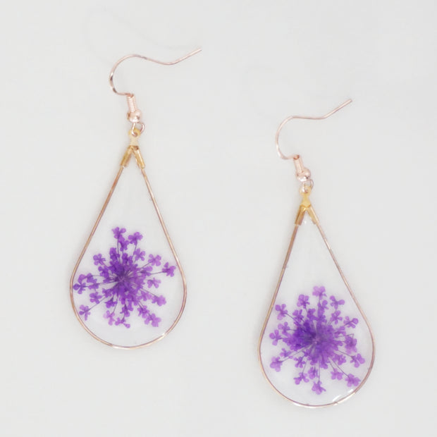 Pressed Queen Ann's Lace Flower Earrings 1