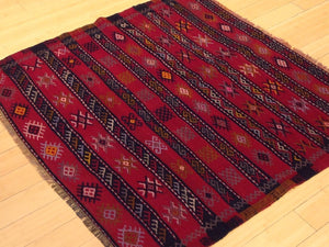 Beautiful Interior-Decorator Square Tribal Turkish Lovely Handwoven Kilim Handmade Real Wool Rug