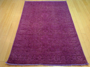 Beautiful Handmade Pretty Handknotted Overdye Wool Oriental Purple Color Modern Unique Rug