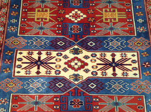 Beautiful Kazak Traditional Design Fine Real Wool Oriental Classy Handmade Unique Rug