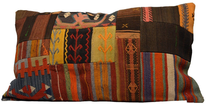 Patchwork Style Hand-Woven Kilim Pillow Cover