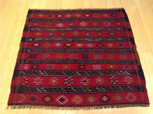 Load image into Gallery viewer, Beautiful Interior-Decorator Square Tribal Turkish Lovely Handwoven Kilim Handmade Real Wool Rug