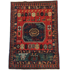 Afghan Ersari Pretty Traditional Artisan Handknotted Splendid Handmade Real Wool Unique Rug