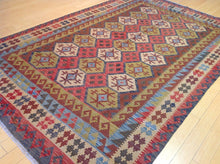 Load image into Gallery viewer, Afghan Oriental Reversible Momana Kilim Lovely Handwoven Best Real Wool Unique Rug
