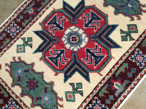 Beautiful Kazak Pretty Geometric Design Handmade Splendid Handknotted Real Wool Unique Rug