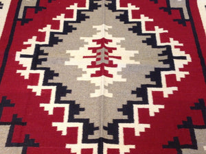 Beautiful Interior-Decorator Reversible Southwestern Design Kilim Handwoven Best Real Wool Unique Rug