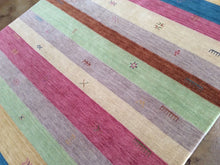 Load image into Gallery viewer, Beautiful Interior-Decorator Pretty Handloomed Striped Design Oriental Gabbeh Real Wool Unique Rug