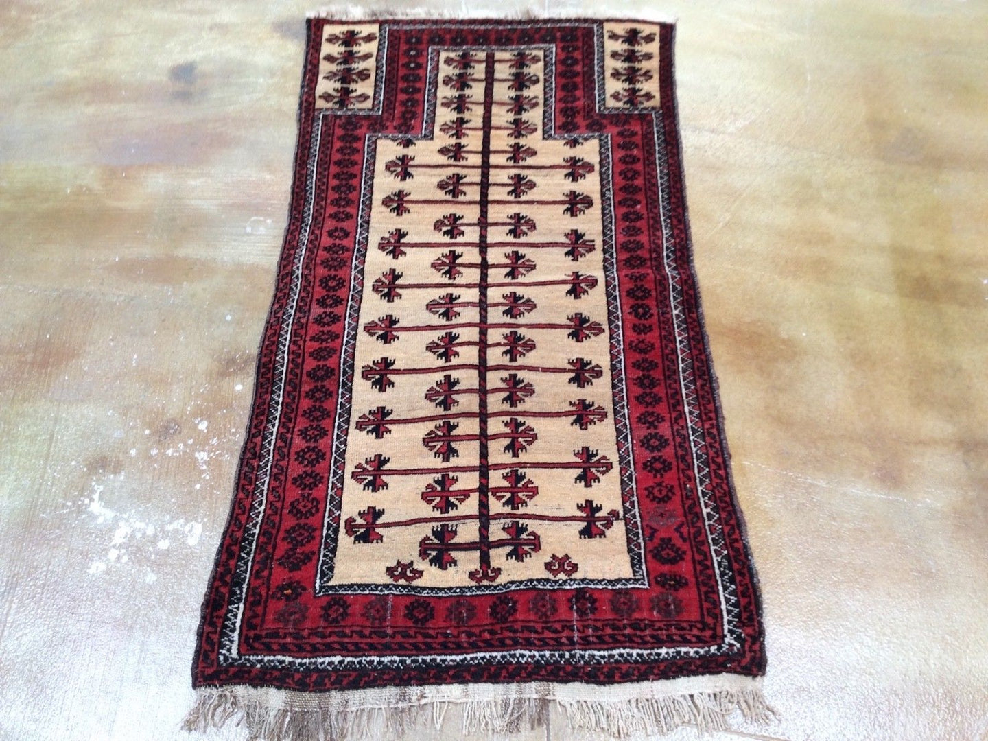 Beautiful Interior-Decorator Afghan Baloch Prayer Handmade Splendid Handknotted Real Wool Unique Rug