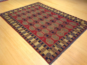 Beautiful Interior-Decorator Fine Oriental Afghan Soumak Handmade Handwoven Classy Real Wool Rug