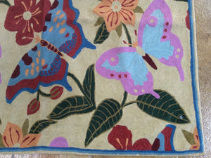 Chainstitch Stitch Kashmir Butterfly Design Lovely Handwoven Real Wool Amazing Unique Rug
