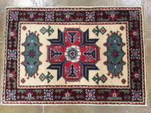 Load image into Gallery viewer, Beautiful Kazak Pretty Geometric Design Handmade Splendid Handknotted Real Wool Unique Rug