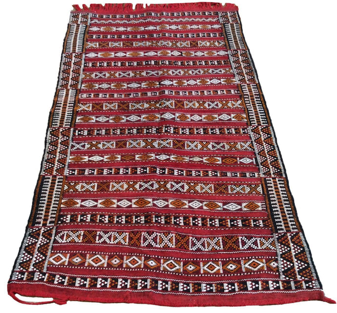 Beautiful Interior-Decorator Moroccan Style Kilim Tribal Handmade Handwoven Real Wool Unique Rug