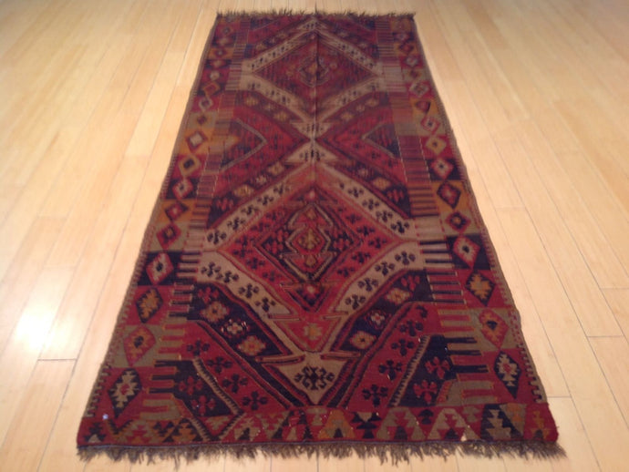 Turkish Traditional Tribal Hand-Woven 100-Percent Wool Handmade Runner-Rug