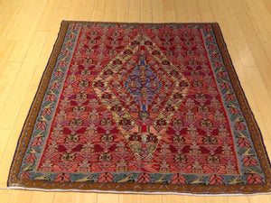 Senneh Kilim Geometric Design Handmade Lovely Handwoven Real Wool Amazing Unique Rug