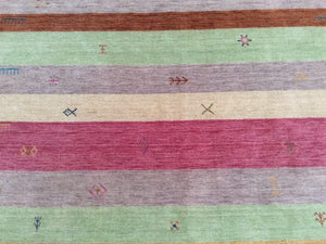 Beautiful Interior-Decorator Pretty Handloomed Striped Design Oriental Gabbeh Real Wool Unique Rug