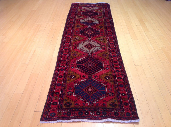 Oriental Persian Traditional Tribal 100-Percent Wool Runner-Rug Hand-Knotted