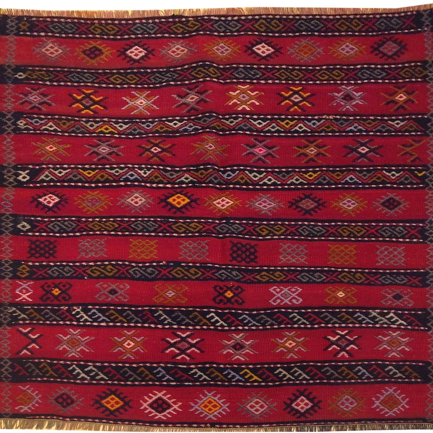 Hand-Woven Square Tribal Turkish Kilim Handmade Wool Rug (Size 3.11 X 3.11) Brral-5220