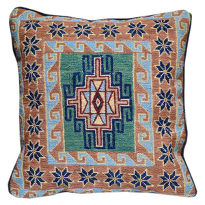 "15"" x 15"" Geometric Pattern Hand-Woven Sumak Pillow Cover Brpal-480"