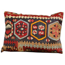 "Load image into Gallery viewer, 13"" x 19"" Geometric Pattern Hand-Woven Turkish Kilim Pillow Cover Cwpal-513"