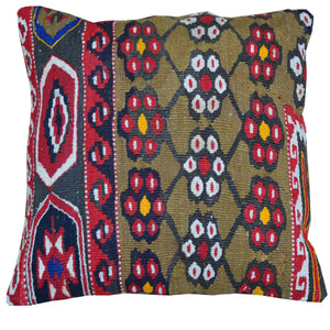 "16"" x 16"" Geometric Pattern Hand-Woven Kilim Pillow Cover Brpal-273"