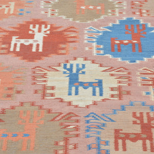 Hand-Woven Geometric Design Wool Reversible Kilim Rug (Size 5.8 X 6.8) Brrsf-6102