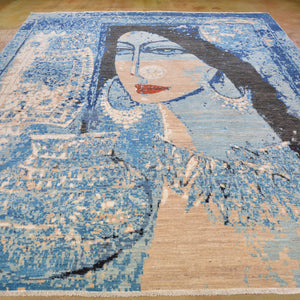 Hand-Knotted Folk Art Pictorial Design Wool Rug (Size 8.0 X 10.4) Brral-3669