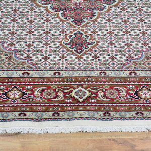 Hand-Knotted Fine Oriental Wool Silk Square Handmade Rug (Size 5.11 X 6.0) Brral-3981