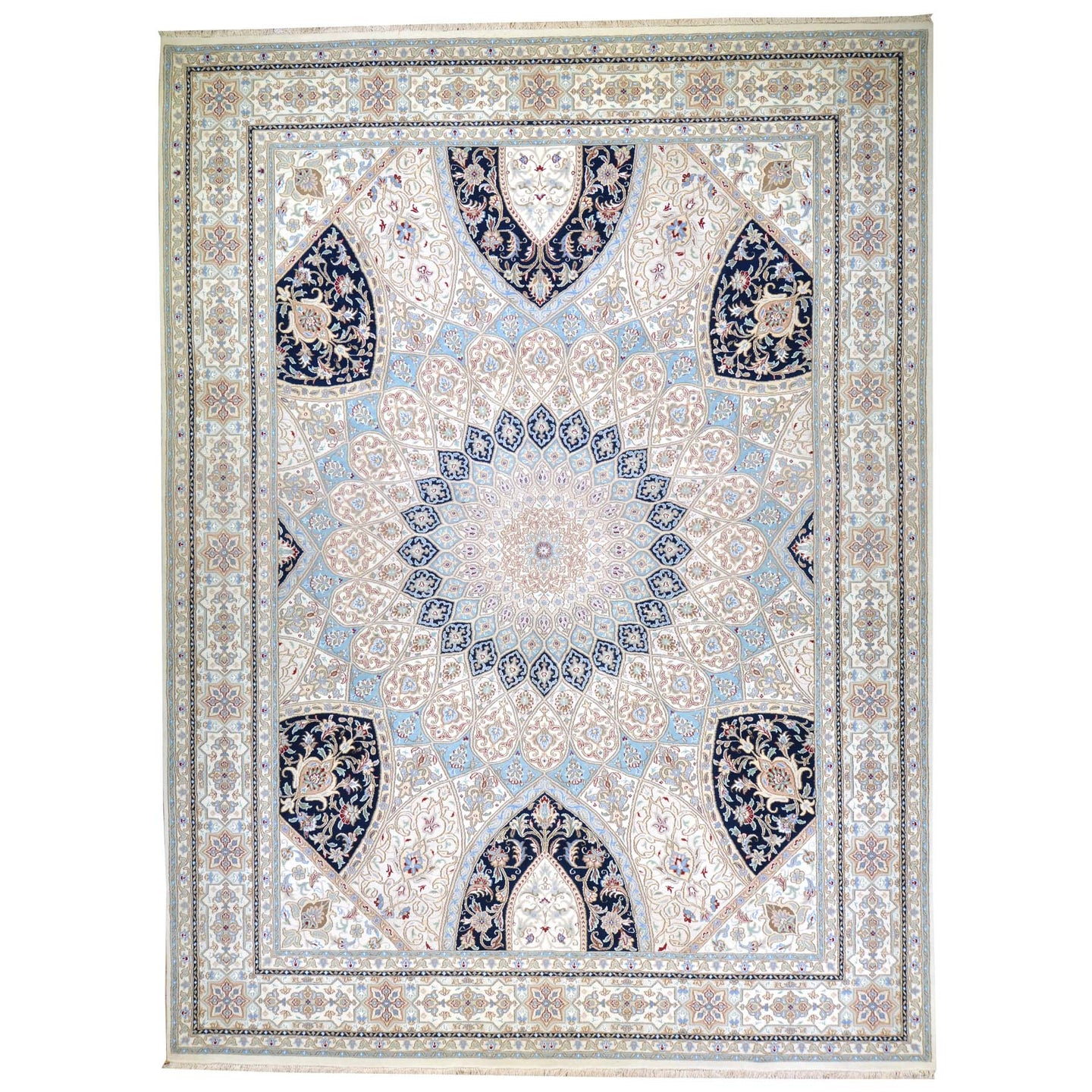 Hand-Knotted Oriental Wool Silk Gumbad Design Handmade Rug (Size 9.0 X 12.1) Brral-5640