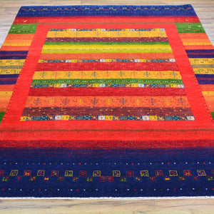 Hand-Knotted Modern Gabbeh Design Wool Handmade Rug (Size 5.8 X 8.4) Cwral-5919
