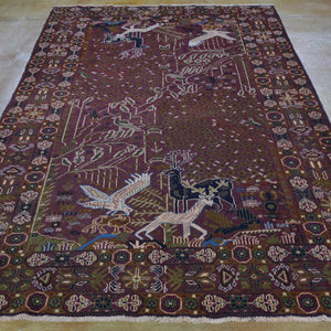 Hand-Knotted Afghan Tribal Pictorial Handmade Wool Rug (Size 5.4 X 8.1) Brral-5988