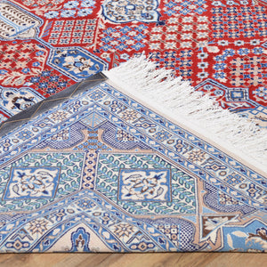 Hand-Knotted Geometric Design Handmade Wool/Silk Rug (Size 7.3 X 10.9) Brral-6270